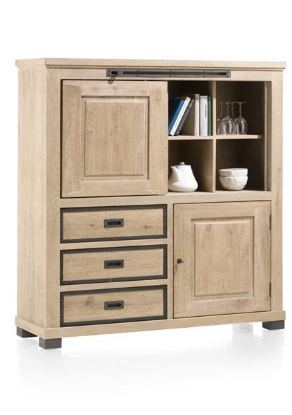 Atelier highboard 1 schuifdeur 1 deur 3 laden 4 niches 140 cm henders hazel - Schuifdeur deur ...